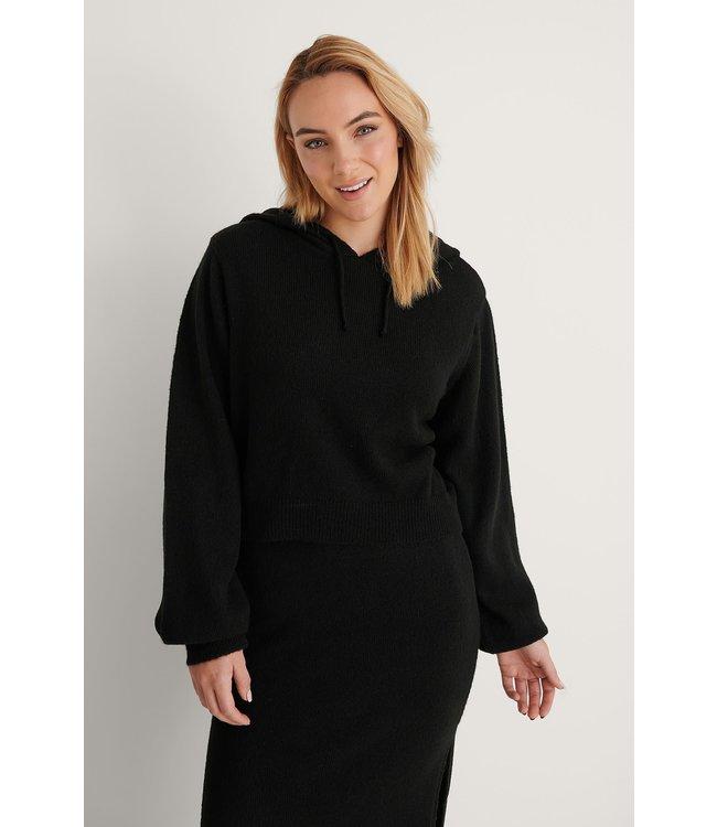 Basic knitted hoodie 004341 - black