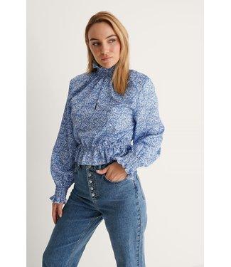 NA-KD Padded shoulder blouse 007355 - blue