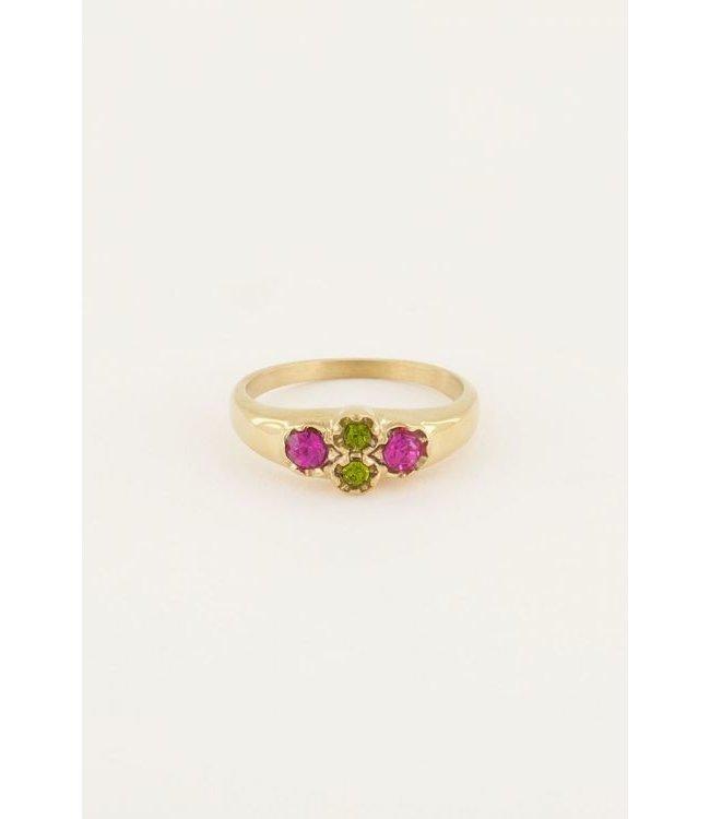Vintage cluster ring groen kri MJ05041 Goud