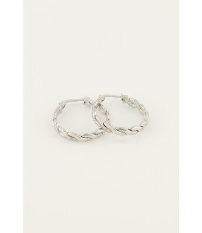 Oorringen rond touwpatroon MJ04358 Zilver