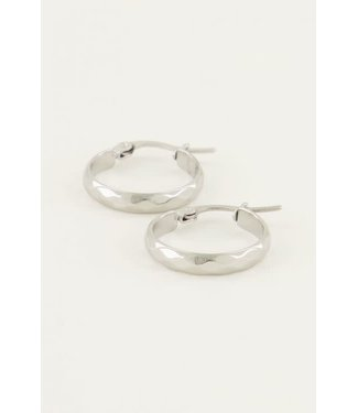 My Jewellery Oorbellen rond patroon MJ04360 Zilver