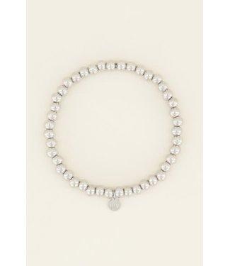 My Jewellery Stretch armband stalen kralen MJ03859 Zilver