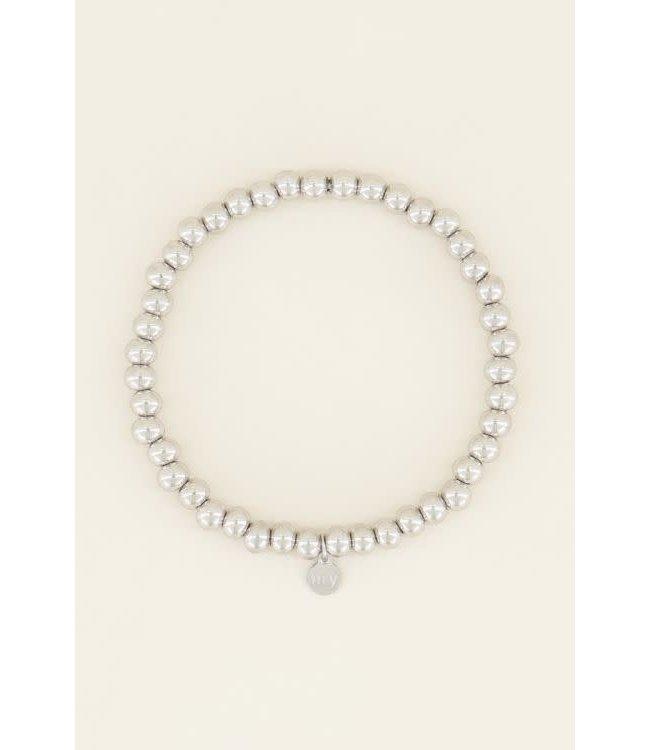 Stretch armband stalen kralen MJ03859 Zilver
