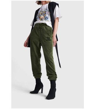 ALIX Knitted rib velvet pants - dusty army