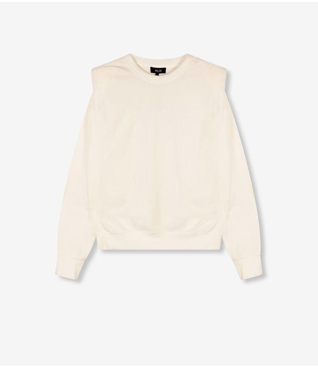 Rib velvet sweater - soft white
