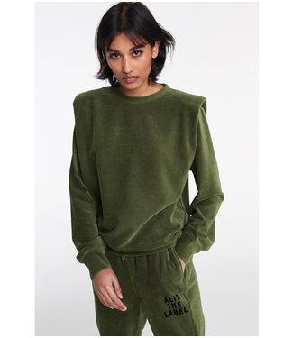 ALIX Rib velvet sweater - army