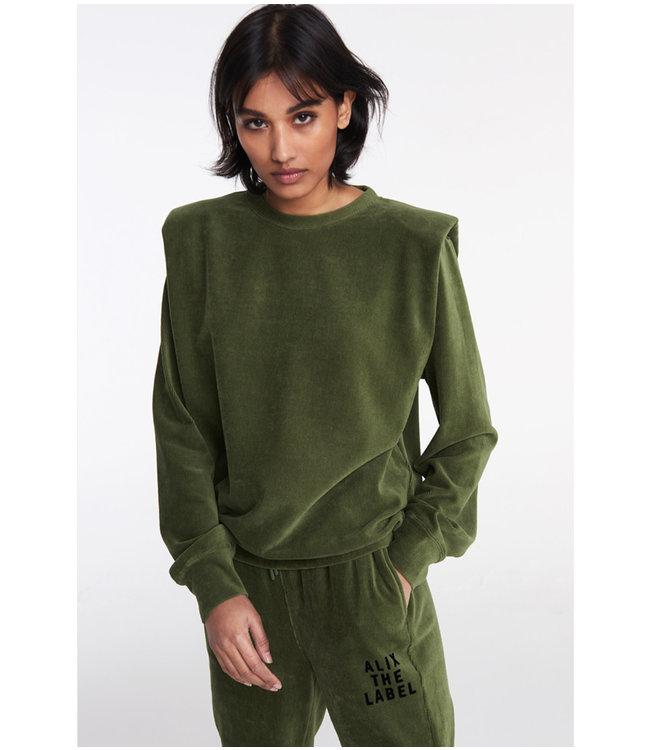 Rib velvet sweater - army