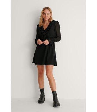 NA-KD Frill v-neck mini dress 007360 - black
