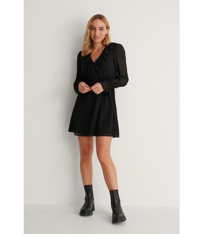 Frill v-neck mini dress 007360 - black