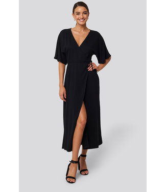NA-KD Wrap dress 1018-004144 | black