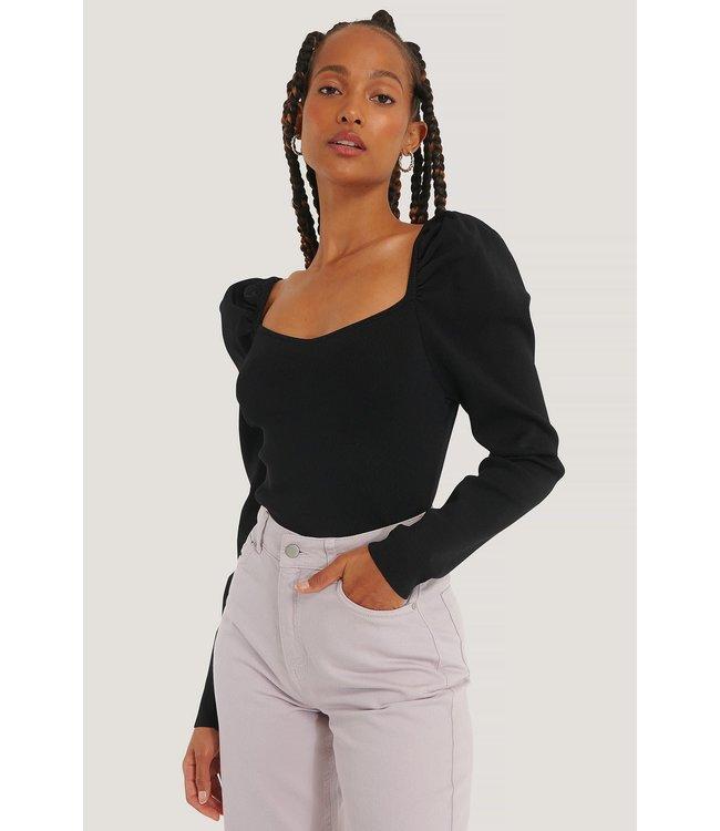 Puff sleeve light knit 1018-005716 - black