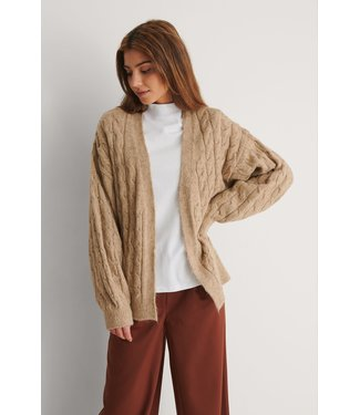 NA-KD Cable knitted cardigan 1018-007488 beige