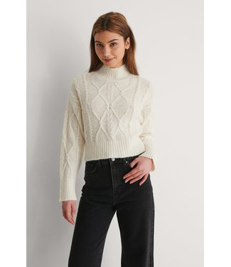 NA-KD Cable knitted sweater 018-007489 offwhite