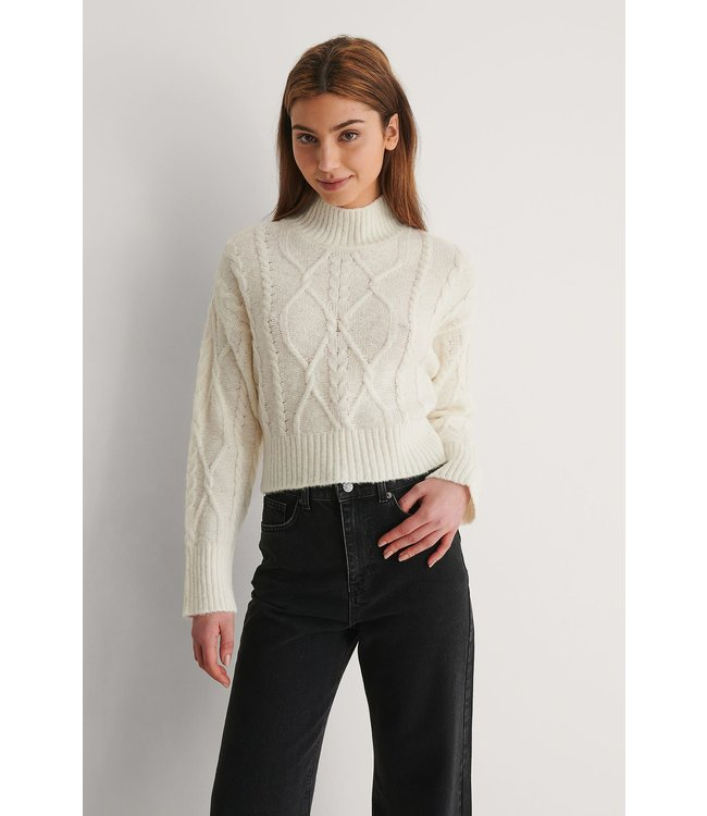 Cable knitted sweater 018-007489 offwhite
