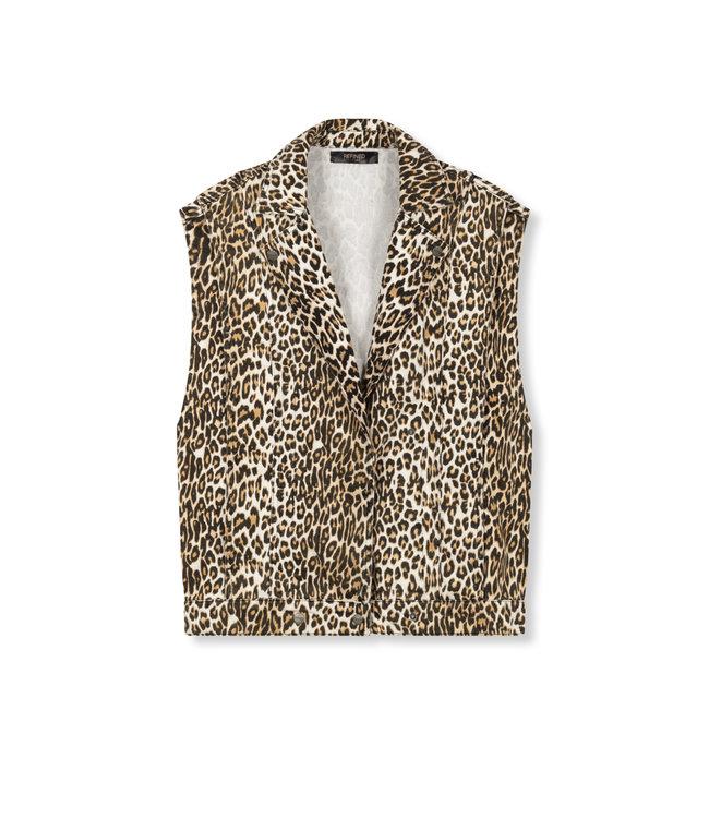 BOBBY denim leopard jacket
