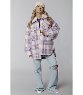 Colourful Rebel Tess Check Oversized Jacket Lilac