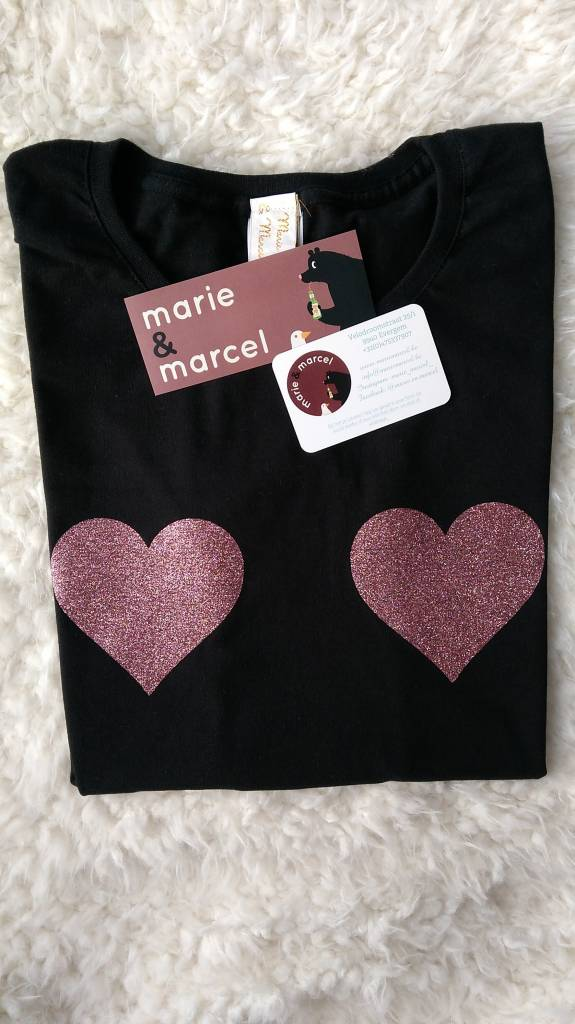 T-shirts Glitter hartjes