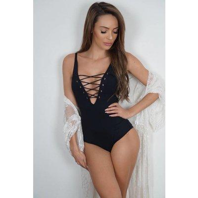 Jaimy Lace up swimsuit black