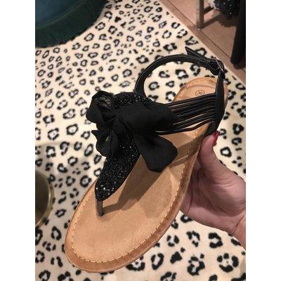 Jaimy Sparkle bow sandals black