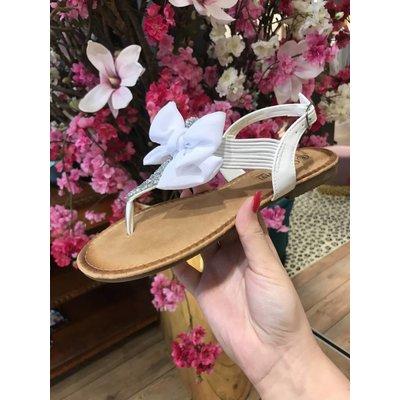 Jaimy Sparkle bow sandals white