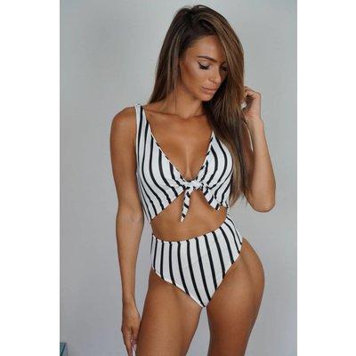 Jaimy Stripe swimsuit white