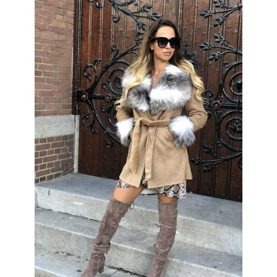 Jaimy Rosé faux fur lammy coat beige