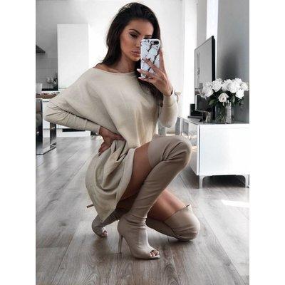 Jaimy Beau sweaterdress sparkle beige