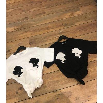 Reinders Velvet headlogo's Tee white black