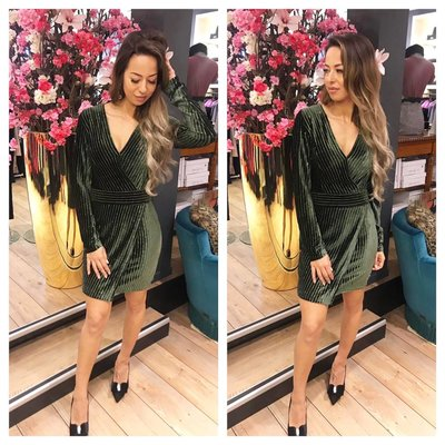 Jaimy Velours cocktail dress army green