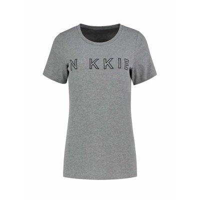 NIKKIE N logo t shirt grey