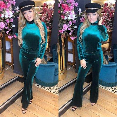 Jaimy Velvet suit PETROL GREEN