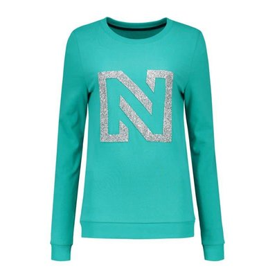 NIKKIE N logo glitter sweater galaxy green