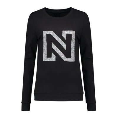 NIKKIE N logo glitter sweater black