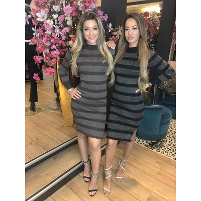 Jaimy Dinner sparkle dress black silver