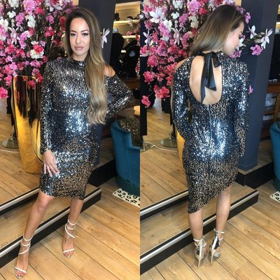 Jaimy Blogger sparkle dress black silver