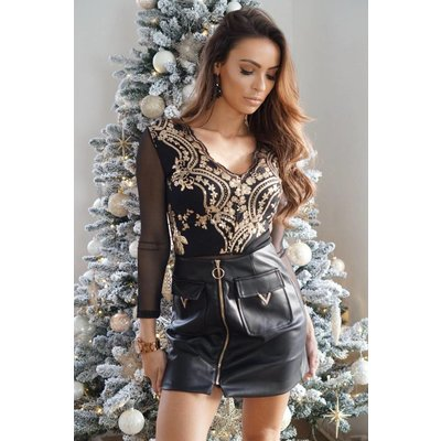 Jaimy Leather look v skirt