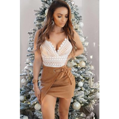 Jaimy Suedine love skirt camel