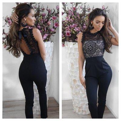 Jaimy OPEN lace jumpsuit black creme