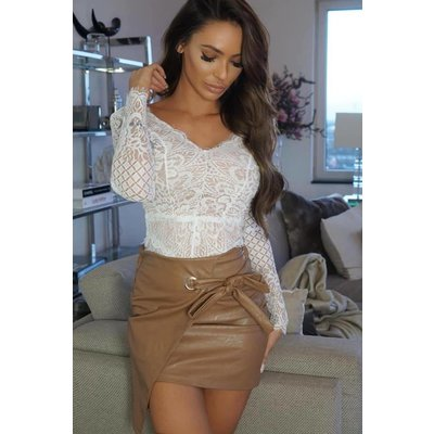 Jaimy Jantina leather look skirt camel
