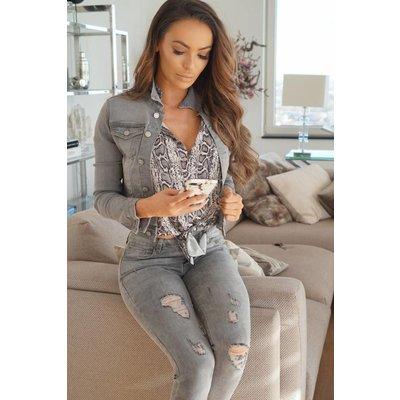 Jaimy Stylish denim jeans jacket grey