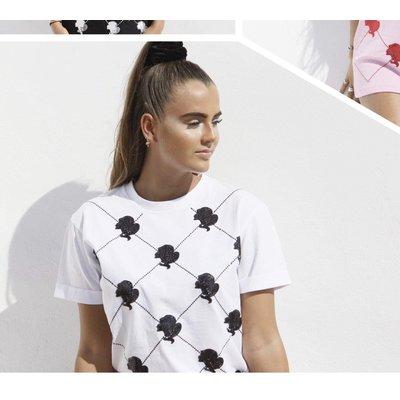 Reinders T-shirt logo mania sequin white black