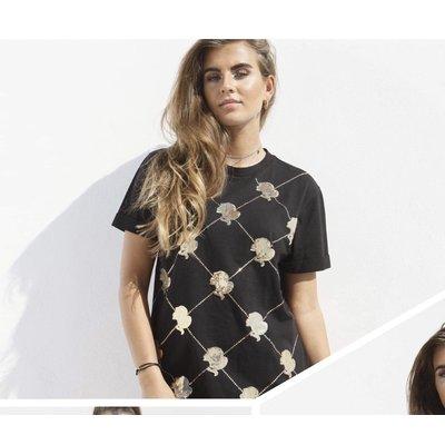 Reinders t-shirt logo mania sequin black gold
