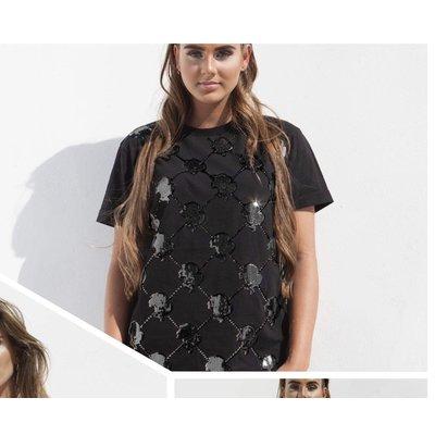 Reinders T-shirt logo mania sequin black black