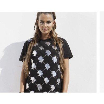 Reinders t-shirt logo mania sequin black silver