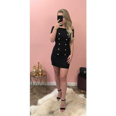 Jaimy Suedine button dress BLACK
