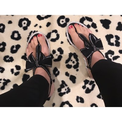 Jaimy Diamond bow sandals black