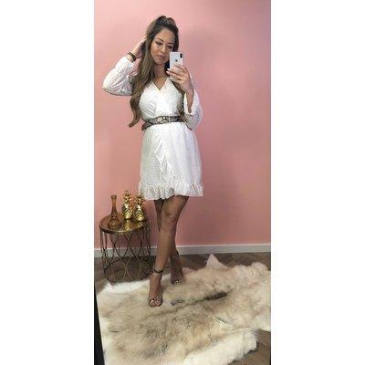 Jaimy Dots RUFFLE dress WHITE