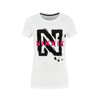 NIKKIE n logo t/shirt white