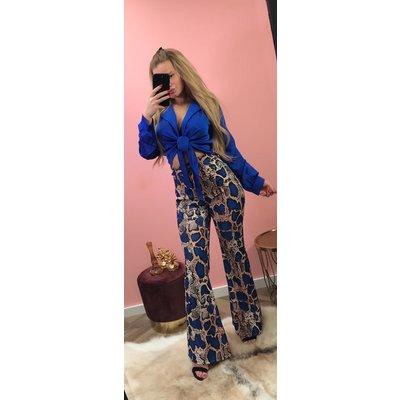 Jaimy Famke satin wrap blouse ROYAL BLUE