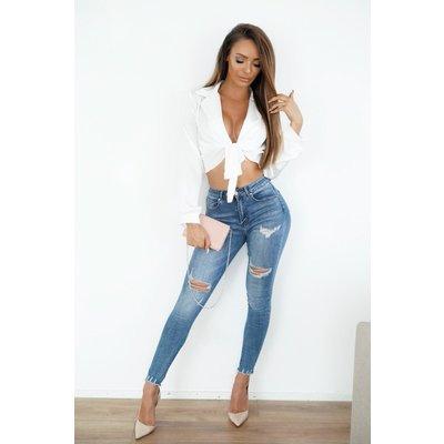 Jaimy Famke satin wrap blouse white